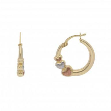 New 9ct Gold 3 Coloured Heart Hoop Creole Earrings