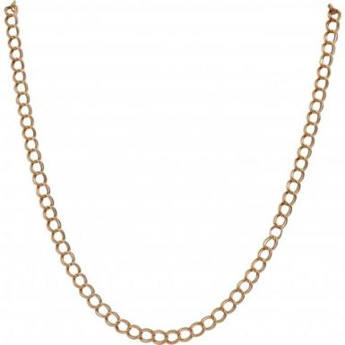 Pre-Owned 9ct Gold 16 Inch Hollow Double Curb Chain Necklace