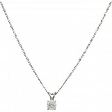 New 18ct Gold 0.89 Carat Diamond Solitaire Pendant Necklace