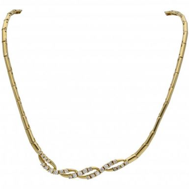 Pre-Owned 18ct Yellow Gold 14 Inch Diamond Set Wave Necklet
