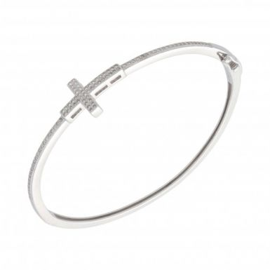 New Sterling Silver Cubic Zirconia Cross Design Bangle