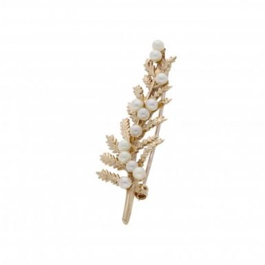 Pre-Owned 9ct Yellow Gold Pearl Set Leaf Brooch