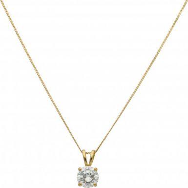 New 18ct Gold 1.25 Carat Diamond Solitaire Pendant Necklace