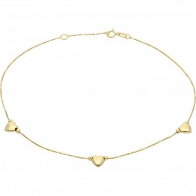 New 9ct Yellow Gold 3 Heart Anklet