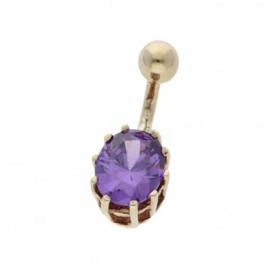 Pre-Owned 9ct Yellow Gold Purple Gemstone Set Belly Bar