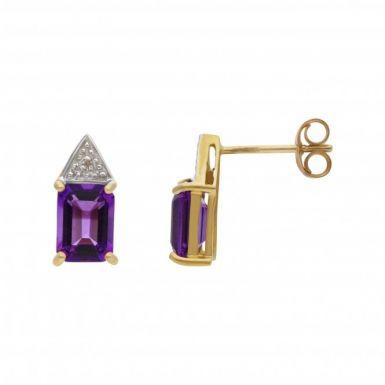 New 9ct White Gold Amethyst & Diamond Stud Earrings