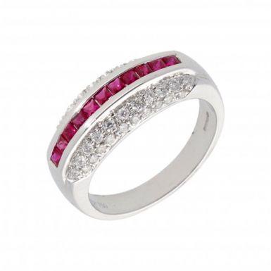 New 9ct White Gold Ruby & Diamond Eternity Design Ring