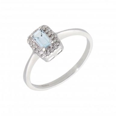 New 9ct White Gold Aquamarine & Diamond Rectangle Cluster Ring