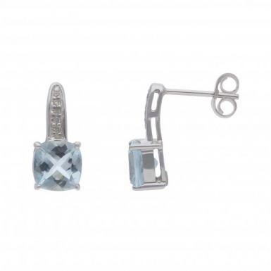 New 9ct White Gold Aquamarine & Diamond Stud Earrings