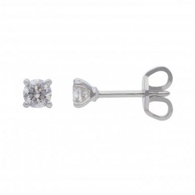 New 18ct White Gold 0.33ct Diamond Stud Earrings