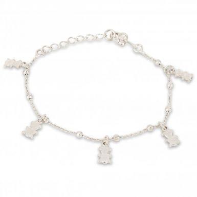 New Sterling Silver Multi Teddy Bear & Bead Link Bracelet
