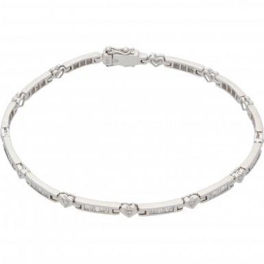 New 18ct White Gold 1.31ct Diamond Heart Link Ladies Bracelet