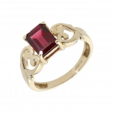 Pre-Owned 9ct Yellow Gold Garnet Dress Ring