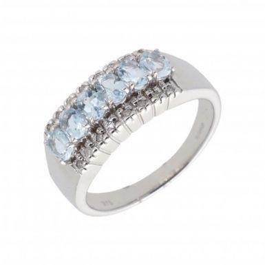New 9ct White Gold Aquamarine & Diamond Dress Ring