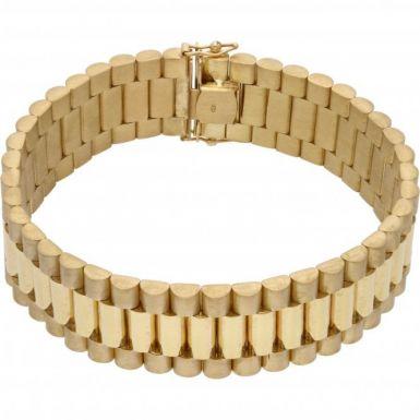 "New 9ct Yellow Gold 8.5"" 20mm Width Rolex Style Bracelet 2.oz"