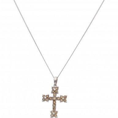 "New 18ct White Gold 1.00ct Diamond Cross Pendant & 18"" Necklace"