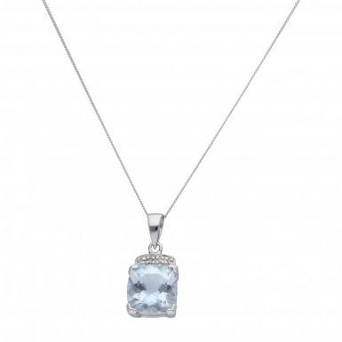 "New 9ct White Gold Aquamarine & Diamond Pendant & 18"" Necklace"