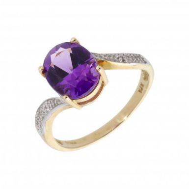 New 9ct Yellow Gold Amethyst & Diamond Twist Ring