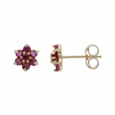 New 9ct Yellow Gold Ruby Flower Cluster Stud Earrings