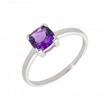 New 9ct White Gold Amethyst Solitaire Dress Ring