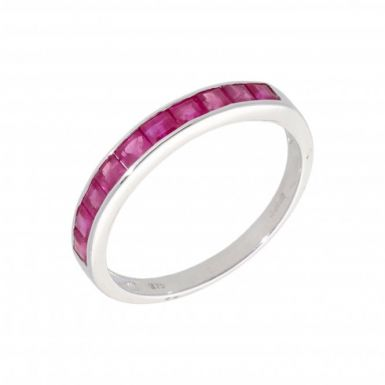 New 9ct White Gold Ruby Eternity Style Ring