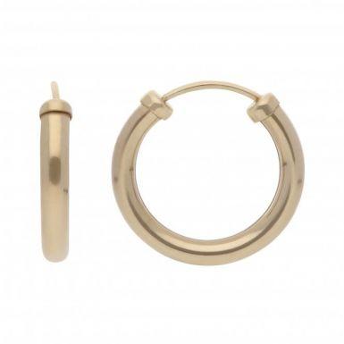New 9ct Yellow Gold 14mm Sleeper Hoop Style Earrings