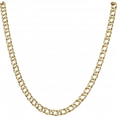 Pre-Owned 9ct Yellow Gold 17 Inch Double Curb Chain Necklace
