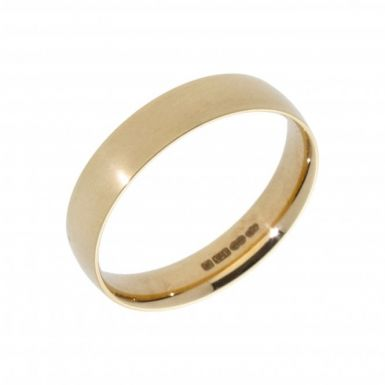 New 9ct Yellow Gold 4mm Slight Court Wedding Ring