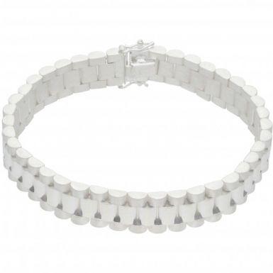 New Sterling Silver Heavy 8.5Inch Rolex Style Link Bracelet 1.oz