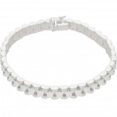 New Sterling Silver 8 Inch Rolex Style Link Bracelet
