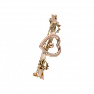 Pre-Owned 9ct Yellow & Rose Gold Vintage Style Heart Brooch