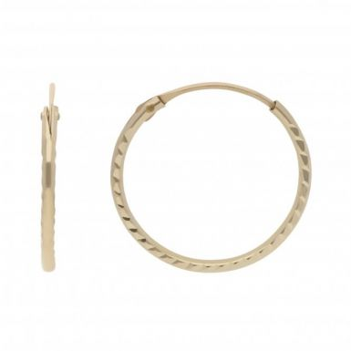 New 9ct Gold 12mm Diamond Cut Hinged Wire Sleeper Earrings