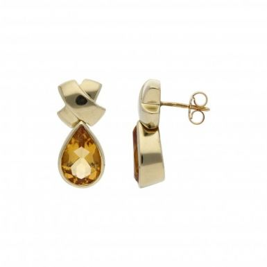 Pre-Owned 14ct Yellow Gold Citrine Teardrop Earrings