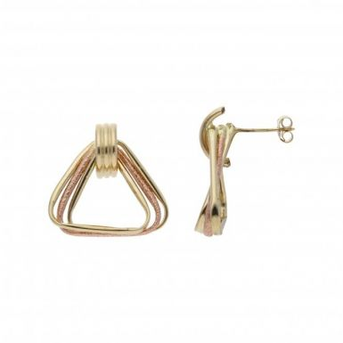 Pre-Owned 9ct Yellow & Rose Gold Triangle Drop Earrings
