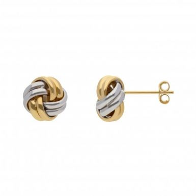 New 9ct Two Colour Gold 8mm Double Knot Stud Earrings