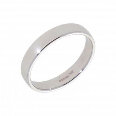 New 9ct White Gold 4mm Slight Court Wedding Ring