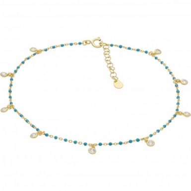 New Sterling Silver & GPTurquise Enamel & Cubic Zirconia Anklet