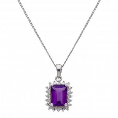 "New 9ct White Gold Amethyst & Diamond Pendant & 18"" Necklace"