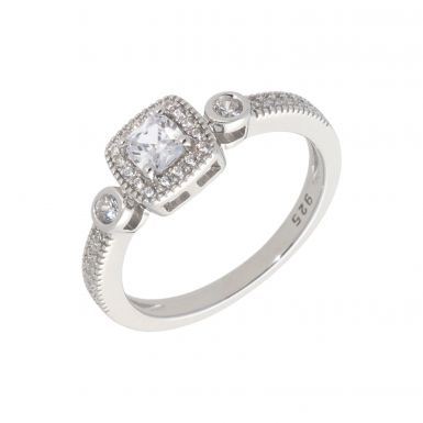 New Sterling Silver Cubic Zirconia Square Cluster Dress Ring