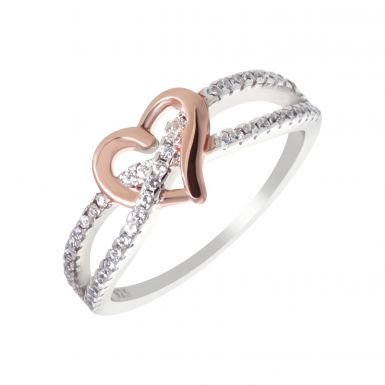 New Sterling Silver & Rose Gold Heart Stone Set Band Ring