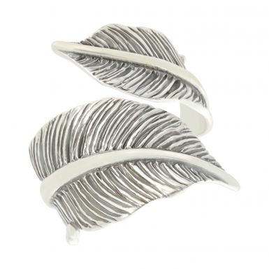 New Sterling Silver Double Feather Ring
