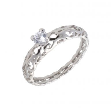 New Sterling Silver Cubic Zirconia Solitaire Dress Ring