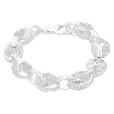 New Sterling Silver 8.5 Inch PatternTulip Mens Bracelet 1oz