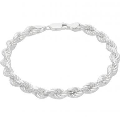 New Sterling Silver 8 Inch Hollow Rope Bracelet