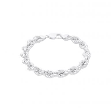New Sterling Silver 8.5 Inch Hollow Rope Bracelet