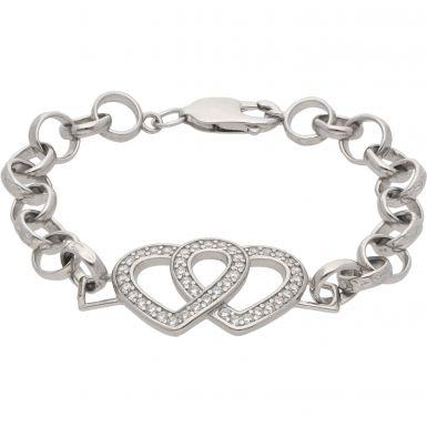 """New Sterling 6"""" Silver Cubic Zirconia Heart Belcher Bracelet"""