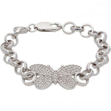 """New Sterling Silver 6"""" Cubic Zirconia Butterfly Belcher Bracelet"""