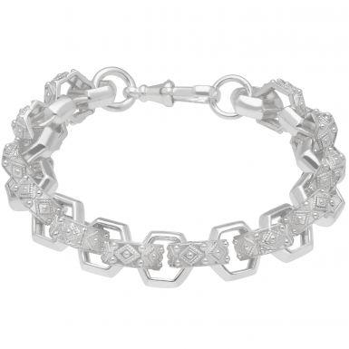 """New Sterling Silver Heavy 11"""" Hexagon Belcher Bracelet 2.4oz"""