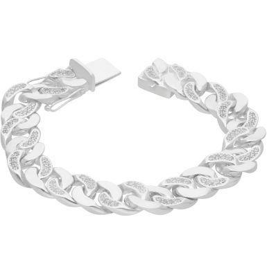 "New Sterling Silver 9"" Cubic Zirconia Cuban Curb Bracelet 2.4oz"