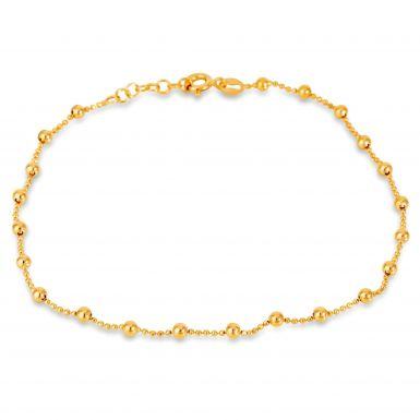 New Sterling Silver Yellow Gold Finish Bead Link Anklet